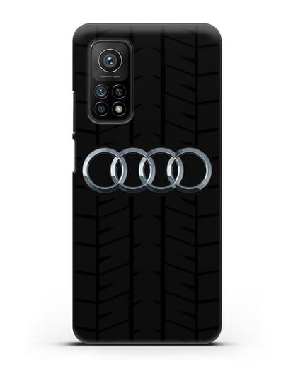 Чехол с логотипом Audi c протектором шин силикон черный для Xiaomi Mi 10T