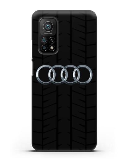 Чехол с логотипом Audi c протектором шин силикон черный для Xiaomi Mi 10t Pro