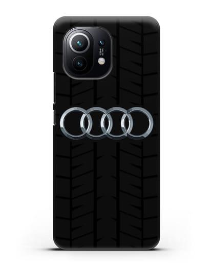 Чехол с логотипом Audi c протектором шин силикон черный для Xiaomi Mi 11
