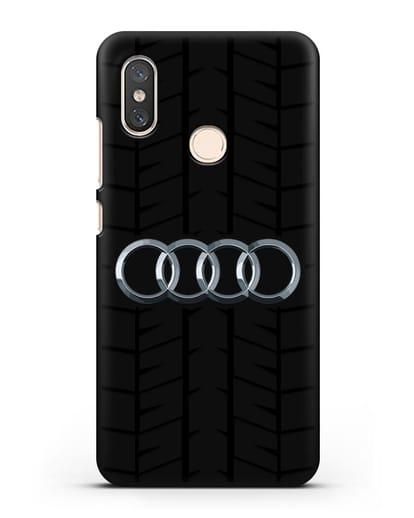 Чехол с логотипом Audi c протектором шин силикон черный для Xiaomi Mi 8