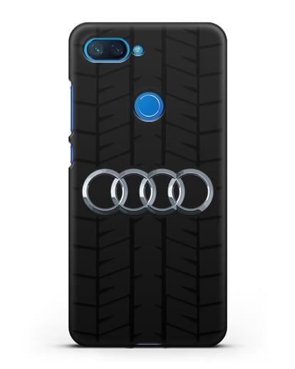 Чехол с логотипом Audi c протектором шин силикон черный для Xiaomi Mi 8 Lite
