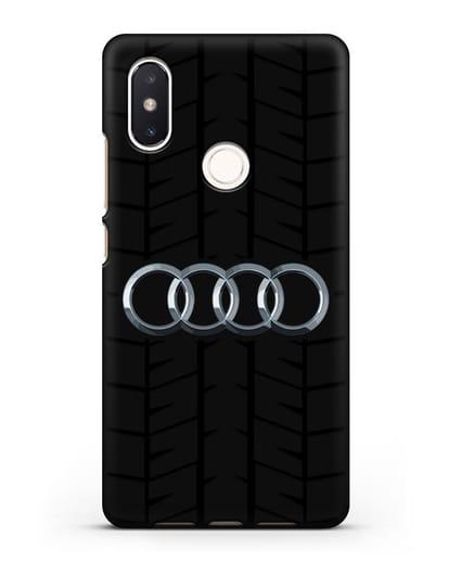 Чехол с логотипом Audi c протектором шин силикон черный для Xiaomi Mi 8 SE