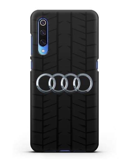 Чехол с логотипом Audi c протектором шин силикон черный для Xiaomi Mi 9