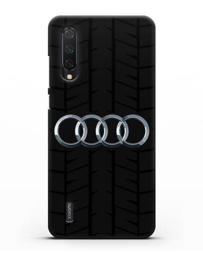 Чехол с логотипом Audi c протектором шин силикон черный для Xiaomi Mi 9 Lite