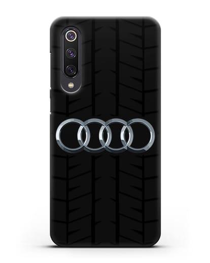 Чехол с логотипом Audi c протектором шин силикон черный для Xiaomi Mi 9 SE