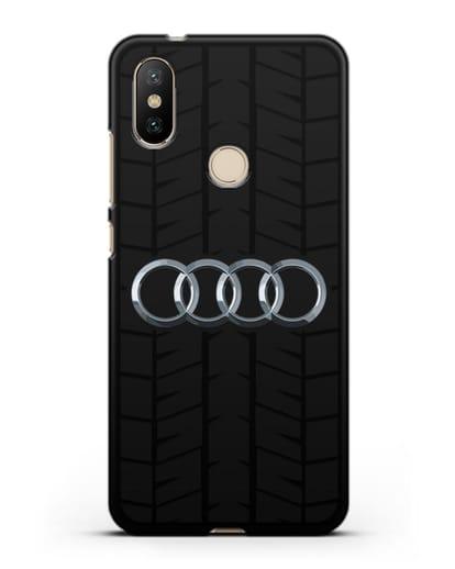 Чехол с логотипом Audi c протектором шин силикон черный для Xiaomi Mi A2