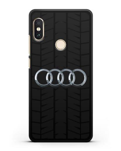 Чехол с логотипом Audi c протектором шин силикон черный для Xiaomi Mi A2 Lite