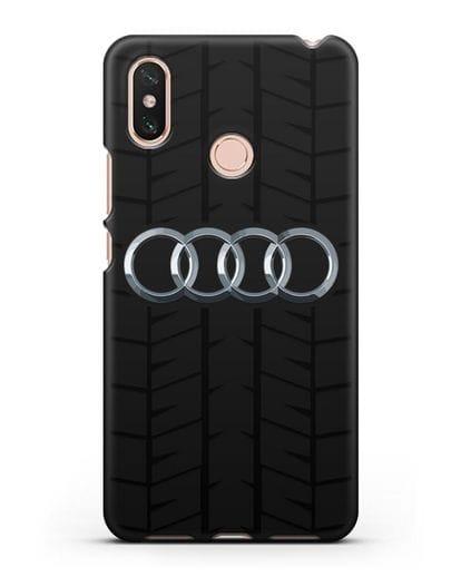 Чехол с логотипом Audi c протектором шин силикон черный для Xiaomi Mi Max 3