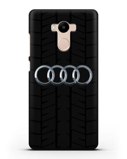 Чехол с логотипом Audi c протектором шин силикон черный для Xiaomi Redmi 4 Pro
