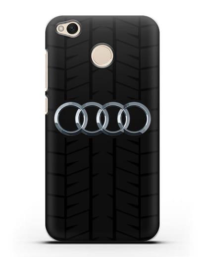 Чехол с логотипом Audi c протектором шин силикон черный для Xiaomi Redmi 4X