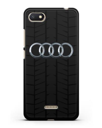 Чехол с логотипом Audi c протектором шин силикон черный для Xiaomi Redmi 6A