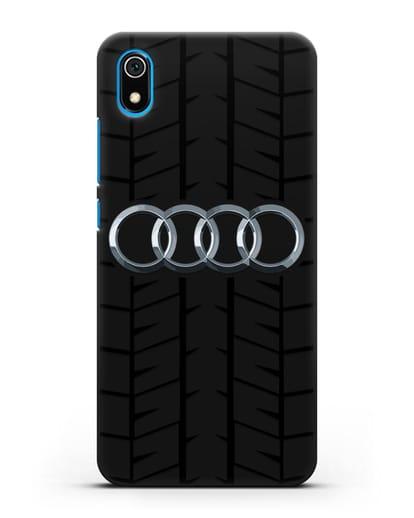 Чехол с логотипом Audi c протектором шин силикон черный для Xiaomi Redmi 7A