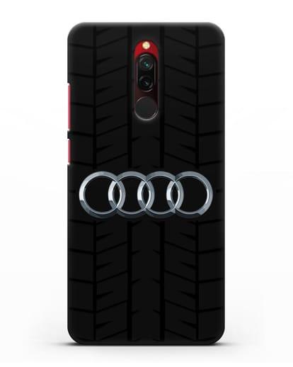 Чехол с логотипом Audi c протектором шин силикон черный для Xiaomi Redmi 8