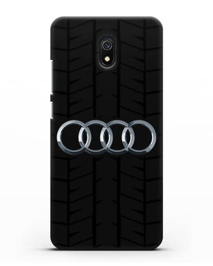 Чехол с логотипом Audi c протектором шин силикон черный для Xiaomi Redmi 8A