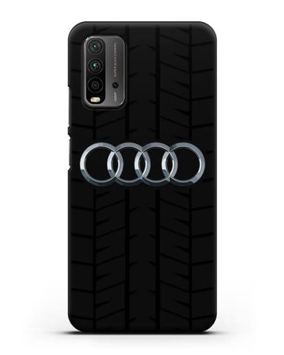 Чехол с логотипом Audi c протектором шин силикон черный для Xiaomi Redmi 9 Power