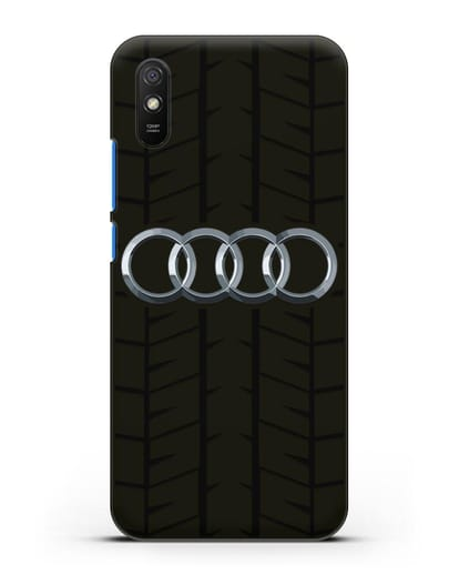 Чехол с логотипом Audi c протектором шин силикон черный для Xiaomi Redmi 9A