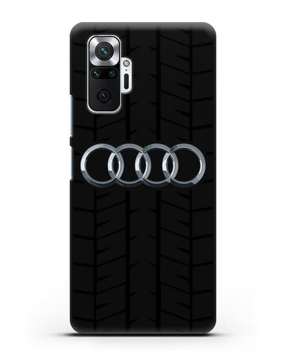 Чехол с логотипом Audi c протектором шин силикон черный для Xiaomi Redmi Note 10 Pro