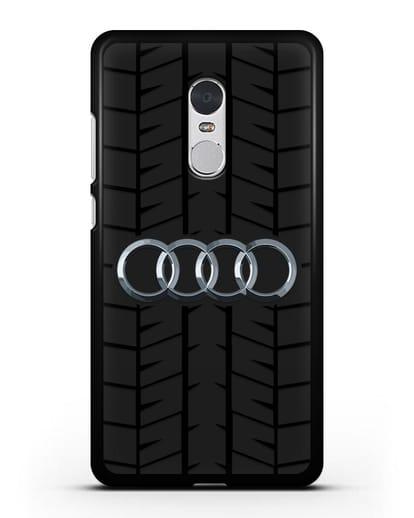 Чехол с логотипом Audi c протектором шин силикон черный для Xiaomi Redmi Note 4X