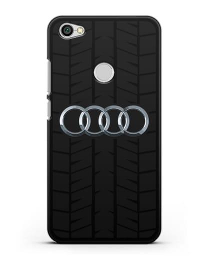 Чехол с логотипом Audi c протектором шин силикон черный для Xiaomi Redmi Note 5A Prime