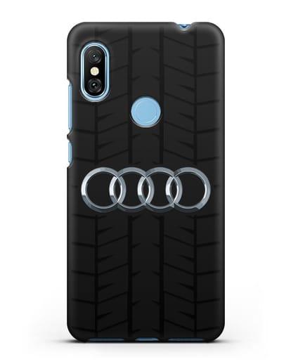 Чехол с логотипом Audi c протектором шин силикон черный для Xiaomi Redmi Note 6 Pro