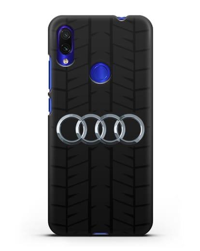 Чехол с логотипом Audi c протектором шин силикон черный для Xiaomi Redmi Note 7