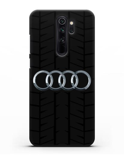 Чехол с логотипом Audi c протектором шин силикон черный для Xiaomi Redmi Note 8 Pro