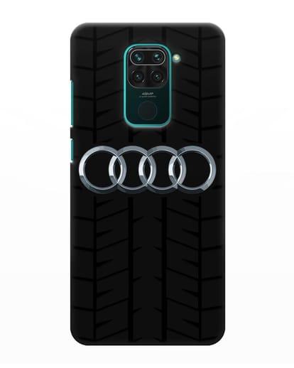 Чехол с логотипом Audi c протектором шин силикон черный для Xiaomi Redmi Note 9