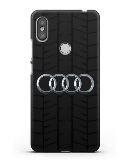 Чехол с логотипом Audi c протектором шин силикон черный для Xiaomi Redmi S2