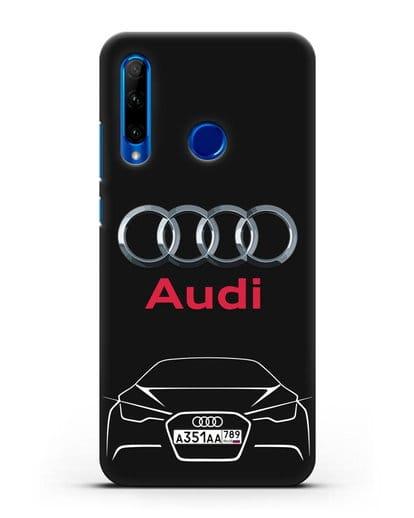 Чехол Audi с автомобильным номером силикон черный для Honor 10i