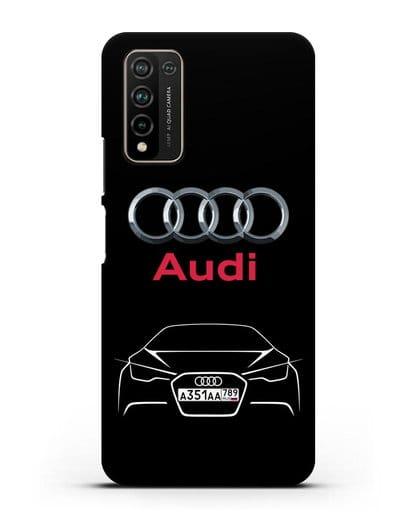 Чехол Audi с автомобильным номером силикон черный для Honor 10X Lite