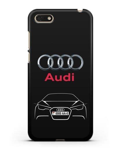 Чехол Audi с автомобильным номером силикон черный для Honor 7А