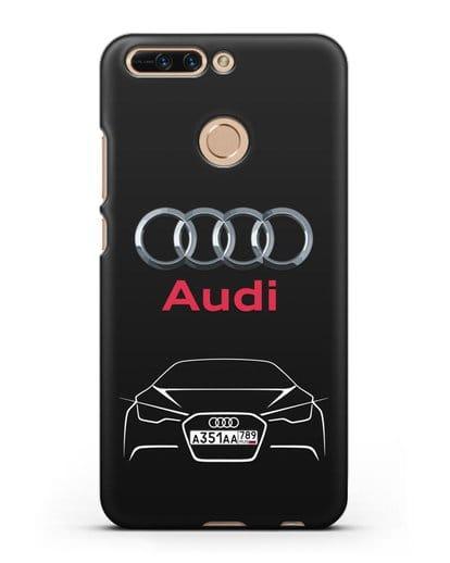 Чехол Audi с автомобильным номером силикон черный для Honor 8 Pro