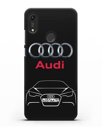 Чехол Audi с автомобильным номером силикон черный для Honor 8A Prime
