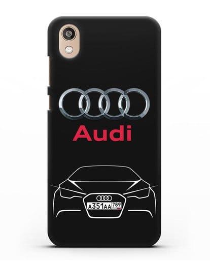 Чехол Audi с автомобильным номером силикон черный для Honor 8S