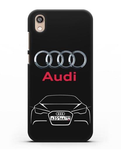 Чехол Audi с автомобильным номером силикон черный для Honor 8S Prime