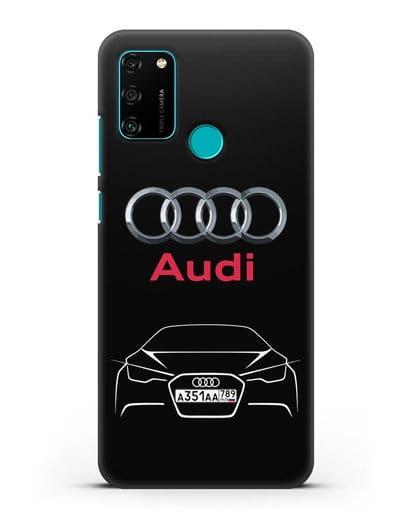 Чехол Audi с автомобильным номером силикон черный для Honor 9A