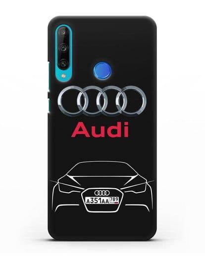 Чехол Audi с автомобильным номером силикон черный для Honor 9C