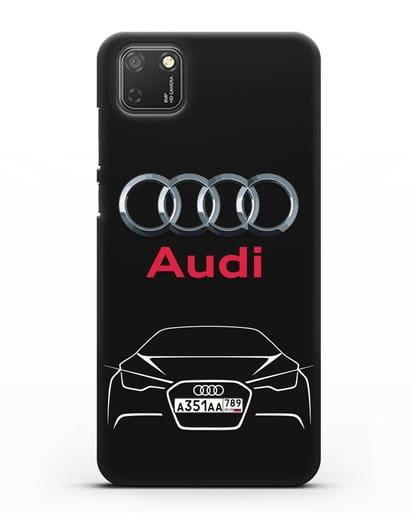 Чехол Audi с автомобильным номером силикон черный для Honor 9S