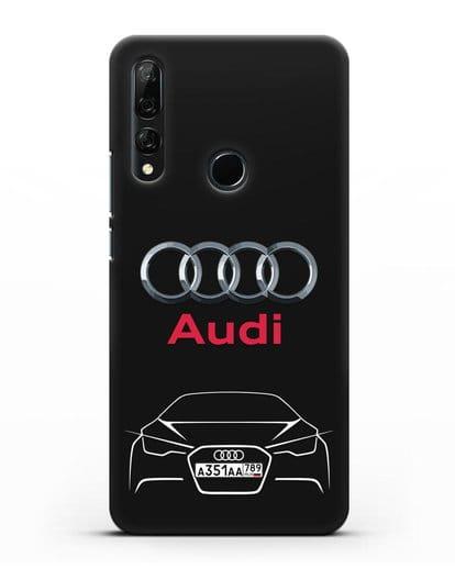 Чехол Audi с автомобильным номером силикон черный для Honor 9X