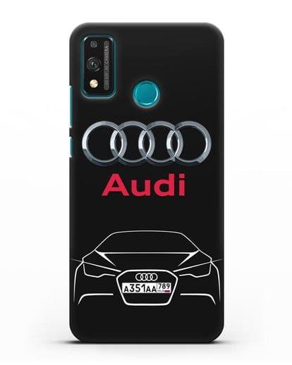 Чехол Audi с автомобильным номером силикон черный для Honor 9X lite