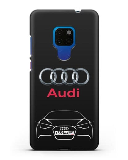 Чехол Audi с автомобильным номером силикон черный для Huawei Mate 20