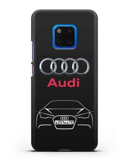Чехол Audi с автомобильным номером силикон черный для Huawei Mate 20 Pro