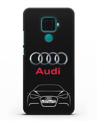 Чехол Audi с автомобильным номером силикон черный для Huawei Mate 30 Lite