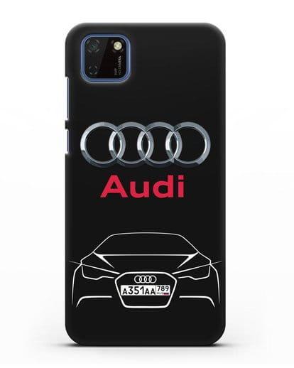 Чехол Audi с автомобильным номером силикон черный для Huawei Y5P