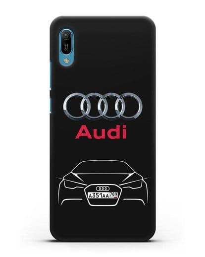 Чехол Audi с автомобильным номером силикон черный для Huawei Y6 2019