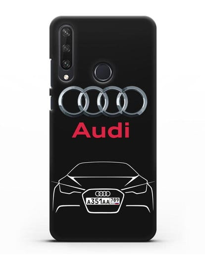 Чехол Audi с автомобильным номером силикон черный для Huawei Y6P