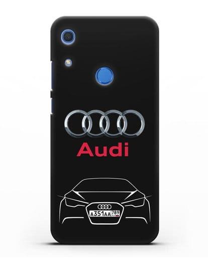 Чехол Audi с автомобильным номером силикон черный для Huawei Y6s