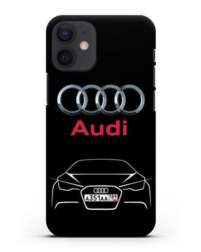 Чехол Audi с автомобильным номером силикон черный для iPhone 12 mini