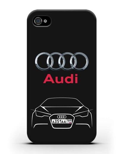 Чехол Audi с автомобильным номером силикон черный для iPhone 4/4s