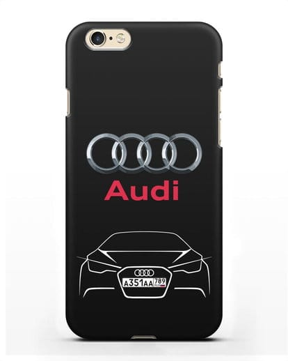 Чехол Audi с автомобильным номером силикон черный для iPhone 6
